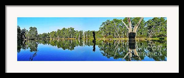 Photography Framed Print featuring the photograph River Panorama And Reflections by Kaye Menner