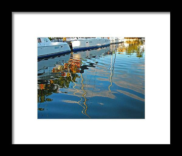 River Reflection Framed Print featuring the pyrography River Reflection by Nian Chen