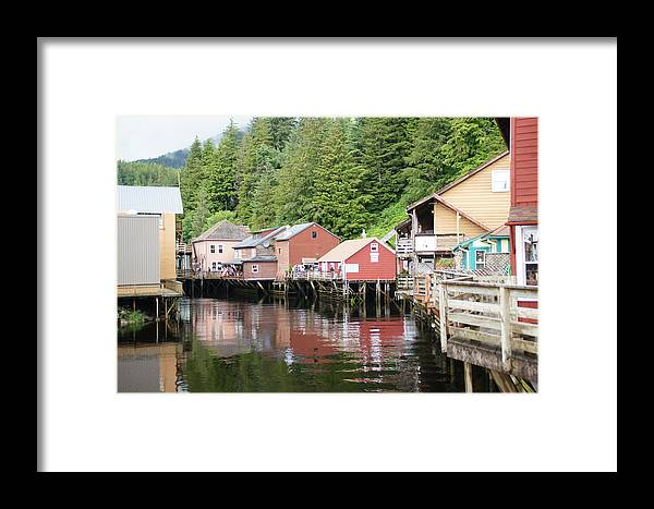 River Framed Print featuring the pyrography River Street Ketchikan Al by Bj Hodges