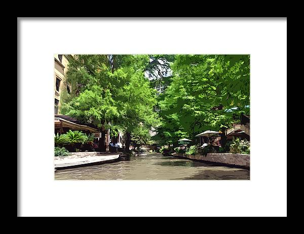 Riverwalk Framed Print featuring the painting Riverwalk in Abstract 1 by Kirt Tisdale