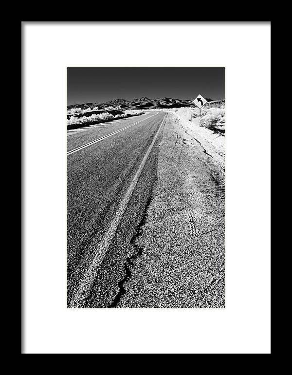 Landscape Framed Print featuring the photograph Road In The Desert #1 by Alyaksandr Stzhalkouski
