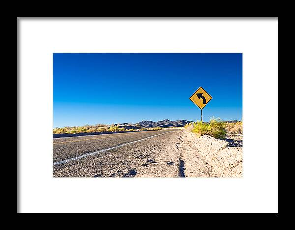 Landscape Framed Print featuring the photograph Road In The Desert #2 by Alyaksandr Stzhalkouski