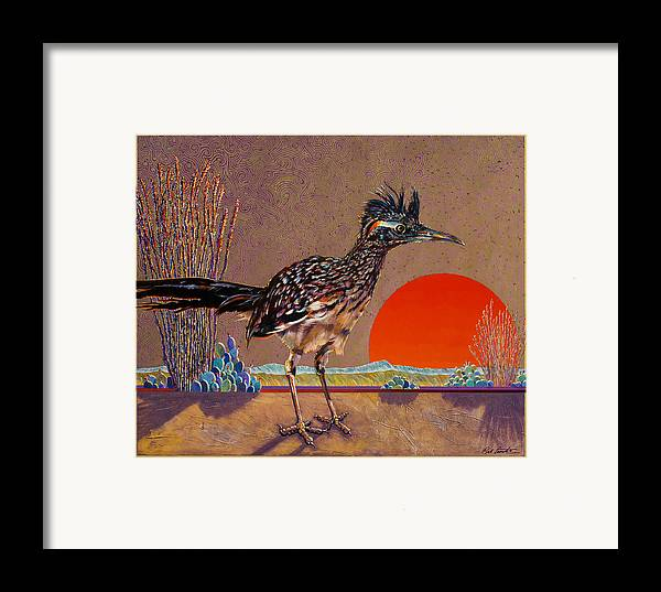 Bird Framed Print featuring the painting Road Runner At Sundown by Bob Coonts