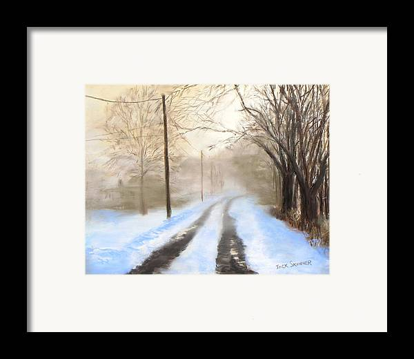 Snow Framed Print featuring the pastel Road To The Ice House by Jack Skinner