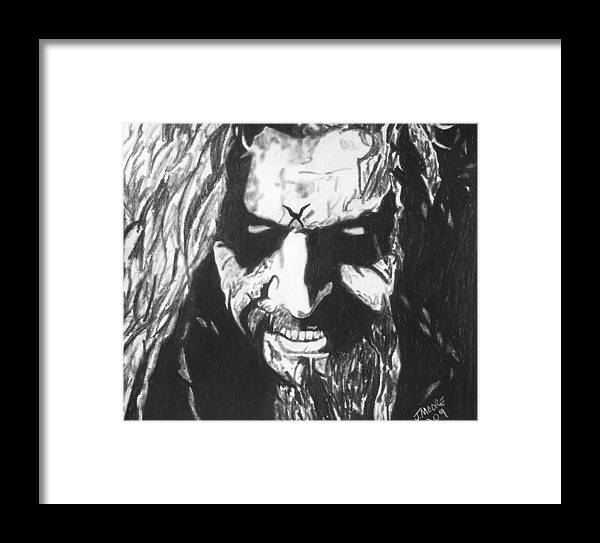 Rob Zombie Music Rock Heavy Metal Celebrity Icon Framed Print featuring the drawing Rob Zombie by Jeremy Moore