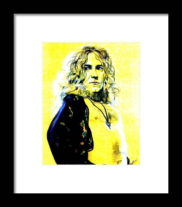 Robert Plant Framed Print featuring the drawing Robert Plant Of Led Zeppelin  by Jim Fitzpatrick
