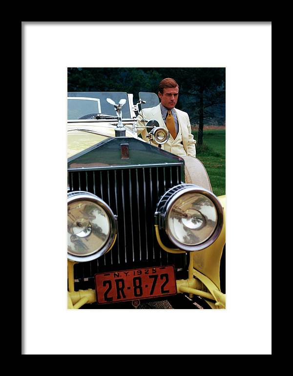 Actor Framed Print featuring the photograph Robert Redford By A Rolls-royce by Duane Michals