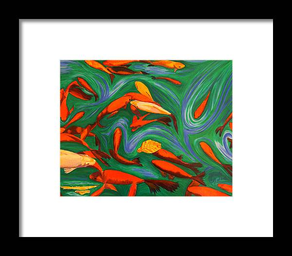 Koi Framed Print featuring the painting Robin's Koi by Tina Stoffel