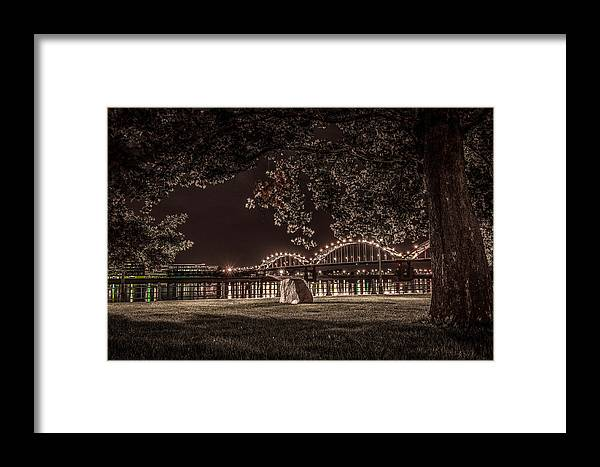 Landscape Framed Print featuring the photograph Rock In Leclaire Park by Ray Congrove
