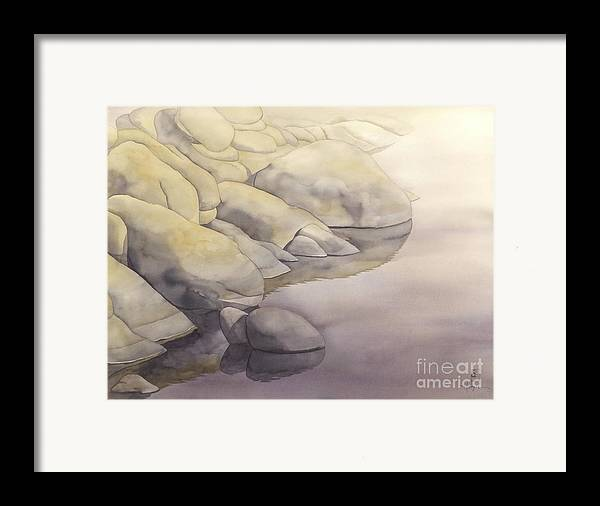 Watercolor Framed Print featuring the painting Rock Meets Water by Robert Hooper