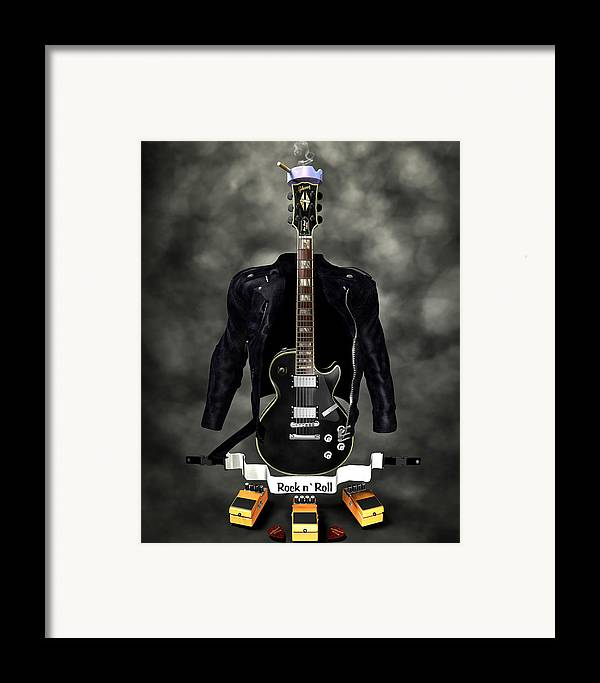Rock N Roll Framed Print featuring the digital art Rock N Roll Crest-the Guitarist by Frederico Borges