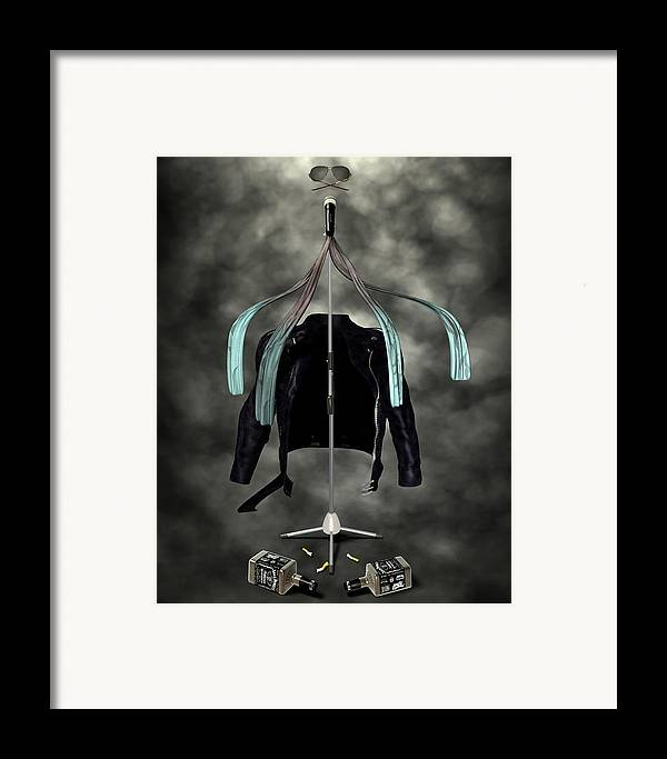 Rock N Roll Framed Print featuring the digital art Rock N Roll Crest-the Vocalist by Frederico Borges