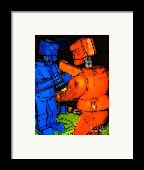 Robot Framed Print featuring the photograph Rockem Sockem Robots - Color Sketch Style - Version 3 by Wingsdomain Art and Photography