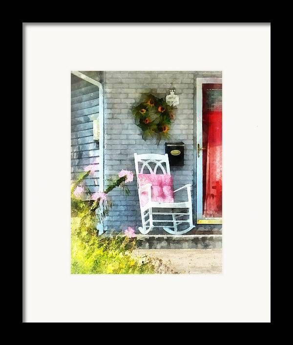 Rocking Chair Framed Print featuring the photograph Rocking Chair With Pink Pillow by Susan Savad
