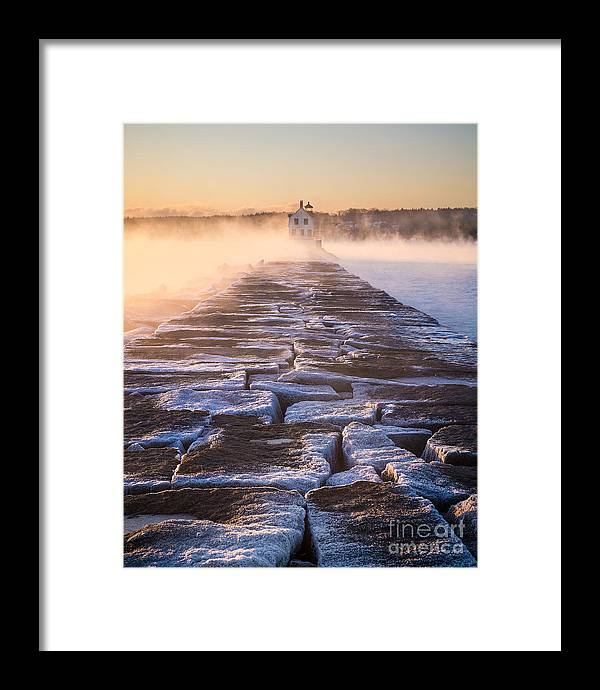 Arctic Sea Smoke Framed Print featuring the photograph Rockland Breakwater Lighthouse by Benjamin Williamson