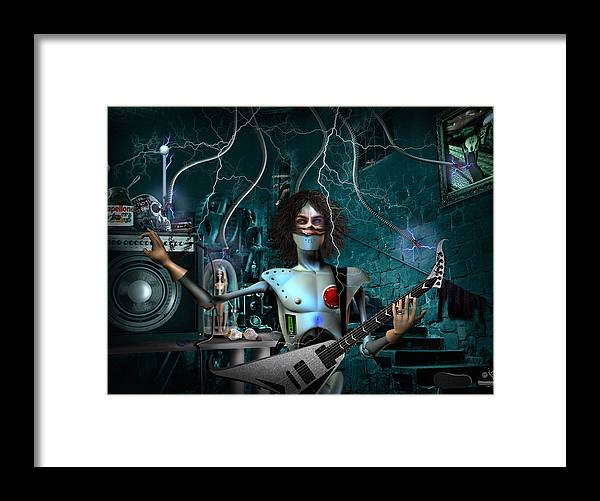 Rock N Roll Robot Framed Print featuring the digital art Rock'n'roll Robot by Alessandro Della Pietra