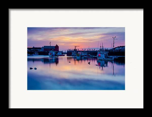 Motif #1 Framed Print featuring the photograph Rockport Harbor Sunrise Over Motif #1 by Jeff Folger
