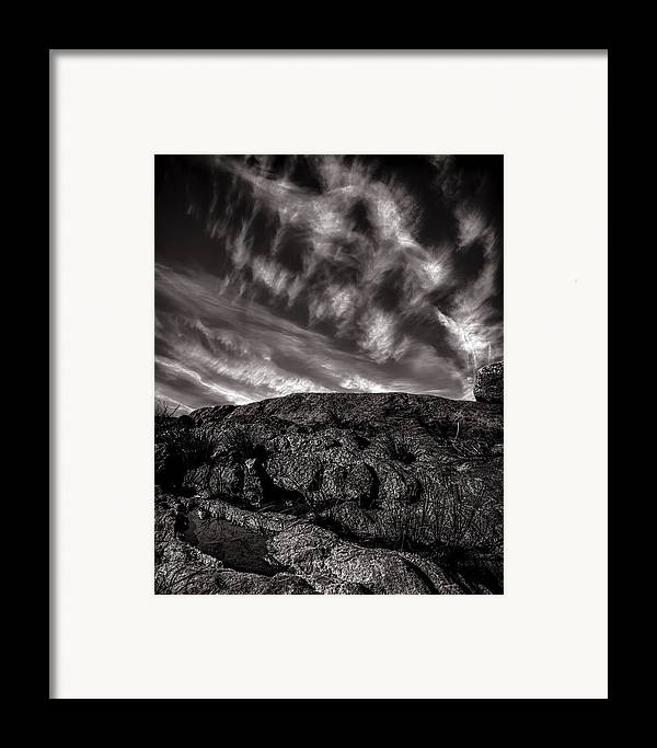 Nature Framed Print featuring the photograph Rocks Clouds Water by Bob Orsillo