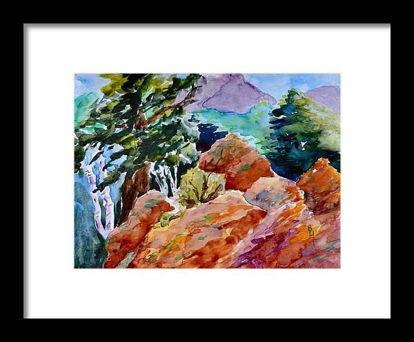 Landscape Framed Print featuring the painting Rocks Near Red Feather by Beverley Harper Tinsley