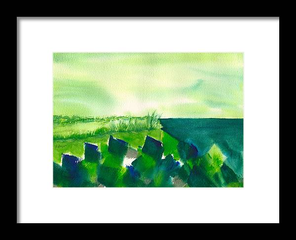 Beach Watercolor Framed Print featuring the painting Rocks On The Beach by Frank Bright