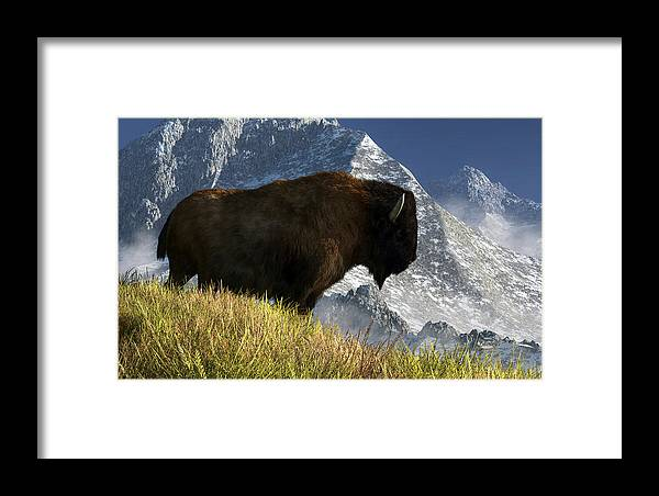 Bison Framed Print featuring the digital art Rocky Mountain Buffalo by Daniel Eskridge