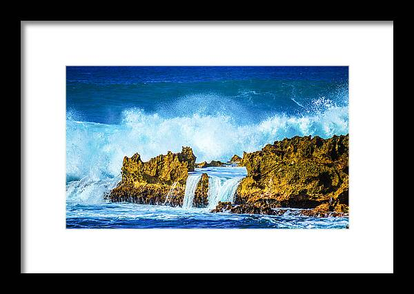 Rocky Waves Framed Print featuring the photograph Rocky Waves North Shore by Lisa Cortez