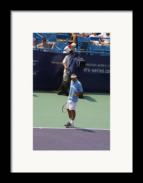 Roger Federer Framed Print featuring the photograph Roger Federer After 1st Slam by Rexford L Powell