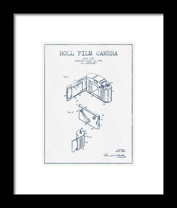 Camera Framed Print featuring the digital art Roll Film Camera Patent From 1952- Blue Ink by Aged Pixel