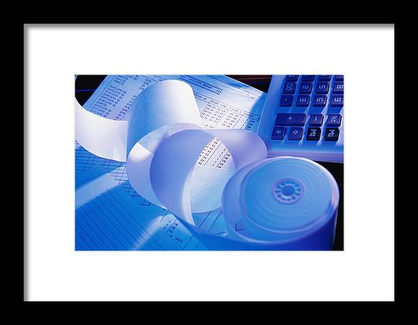 Roll Of Adding Machine Tape And Calculator On Documents Framed Print