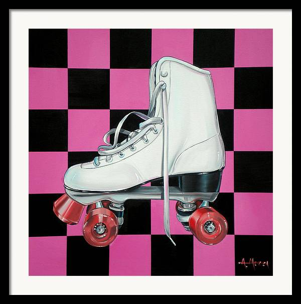 Roller Skate Framed Print featuring the painting Roller Skate by Anthony Mezza