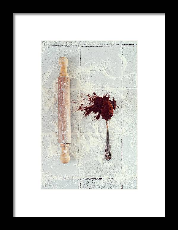 Rolling Pin Framed Print featuring the photograph Rolling Pin, Teaspoon, Flour And Cocoa by One Girl In The Kitchen