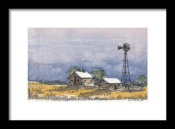 Framed Print featuring the mixed media Rolling Plains Homestead by Tim Oliver