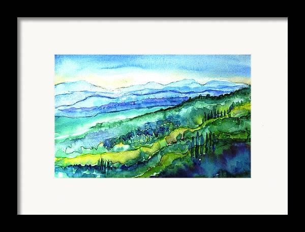 Tuscany Framed Print featuring the painting Rolling Tuscan Landscape by Trudi Doyle