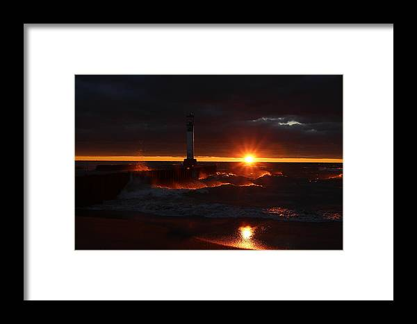 Grand Bend Pier Framed Print featuring the photograph Rolling Waves In The Sunset by Victor Alderson