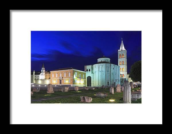 Adriatic Framed Print featuring the photograph Roman Forum And St Donatus Church At Night Zadar Croatia by Ivan Pendjakov