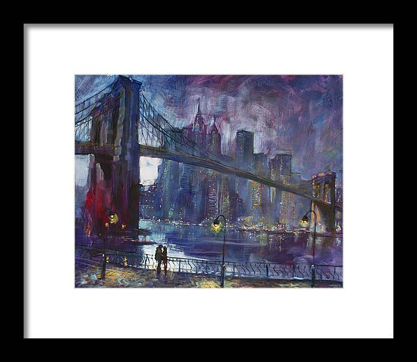 Brooklyn Bridge Framed Print featuring the painting Romance by East River NYC by Ylli Haruni