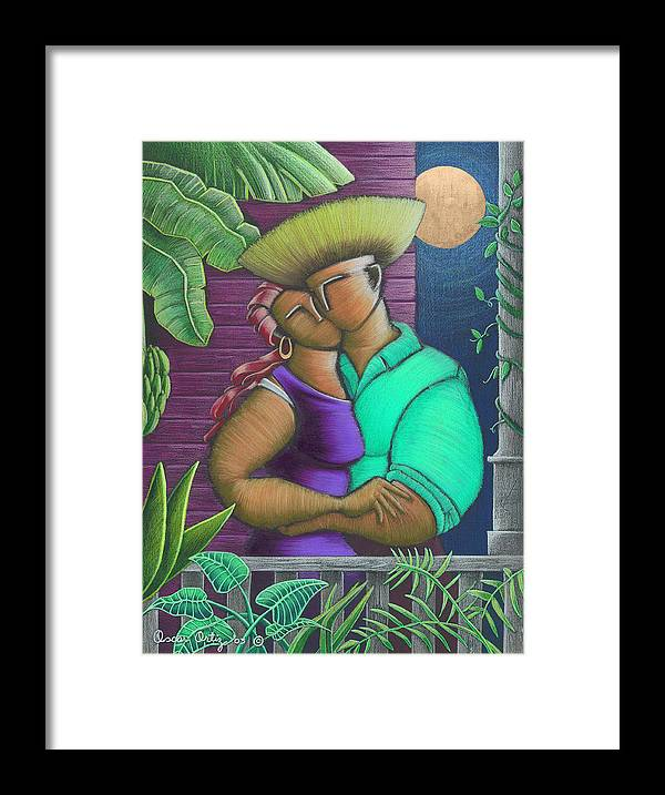 Puerto Rico Framed Print featuring the painting Romance Jibaro by Oscar Ortiz