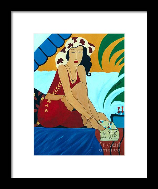 #female Framed Print featuring the painting Romancing the Sun by Jacquelinemari