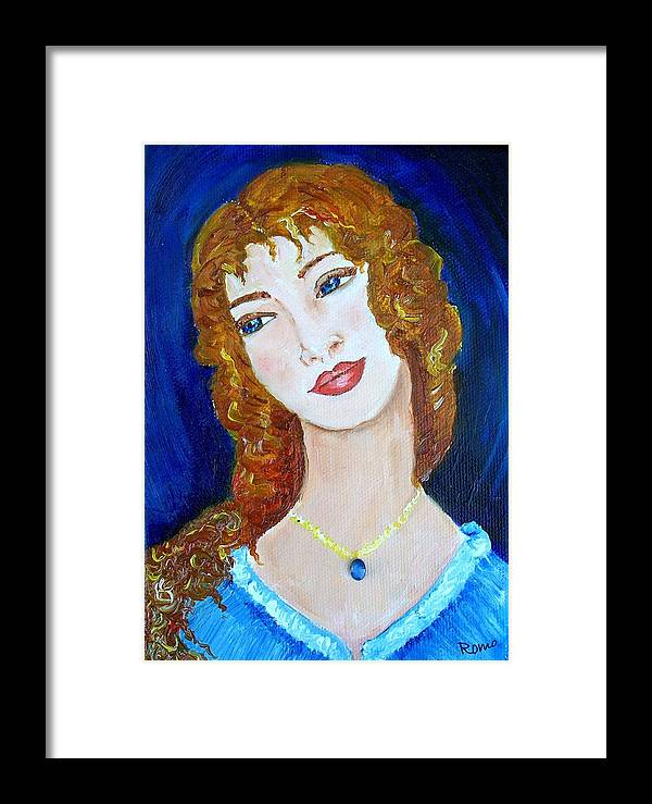 Portrait Framed Print featuring the painting Romantic Saphire by Robin Monroe