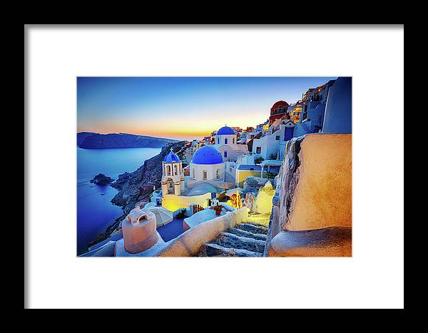 Greek Culture Framed Print featuring the photograph Romantic Travel Destination Oia by Mbbirdy