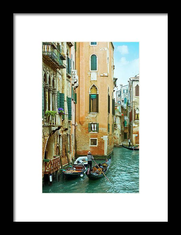 Heterosexual Couple Framed Print featuring the photograph Romantic Venice Views From Gondola by Caracterdesign