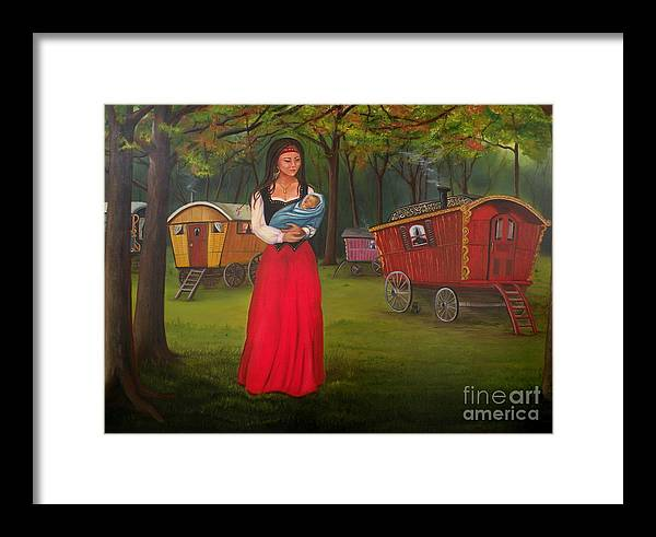 Mother And Child Framed Print featuring the painting Romany Mother And Child by Lora Duguay