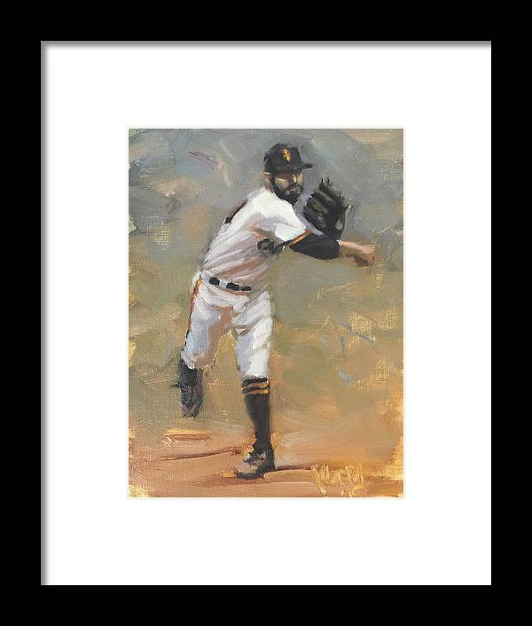 Sergio Romo Framed Print featuring the painting Romo Throw to First by Darren Kerr