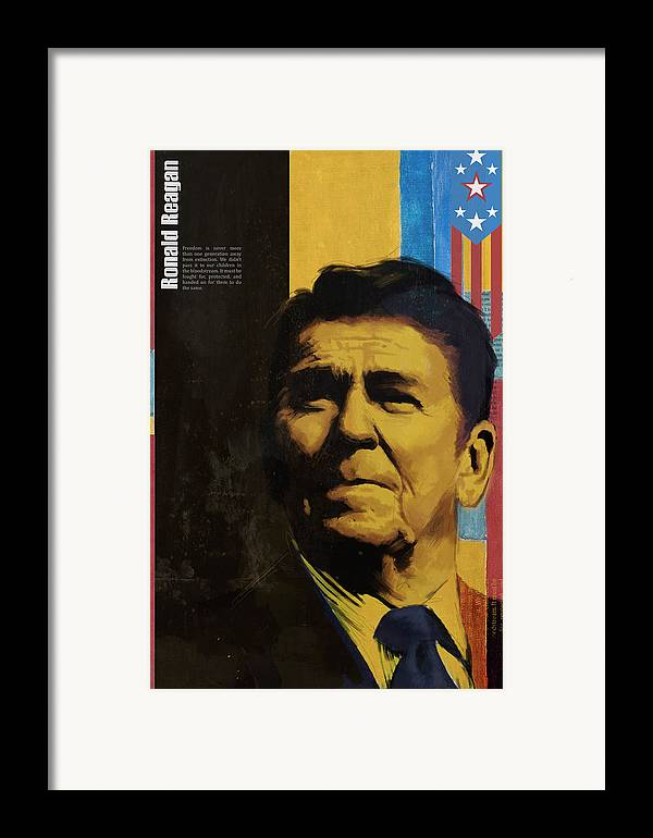 Ronald Reagan Framed Print featuring the painting Ronald Reagan by Corporate Art Task Force