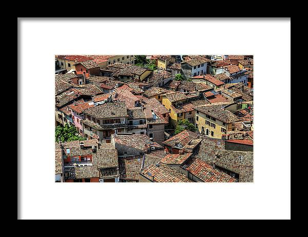 Tranquility Framed Print featuring the photograph Roofs by Mento