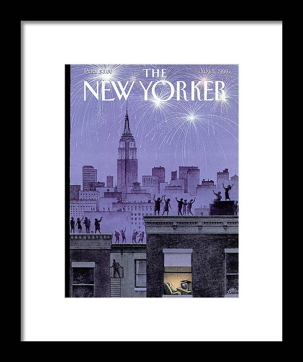 Harry Bliss Hbl Framed Print featuring the painting Rooftop Revelers Celebrate New Year's Eve by Harry Bliss