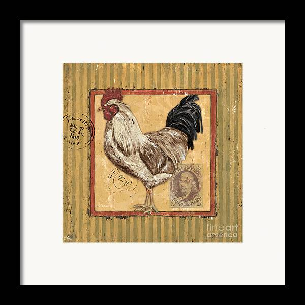 Rooster Framed Print featuring the painting Rooster And Stripes by Debbie DeWitt