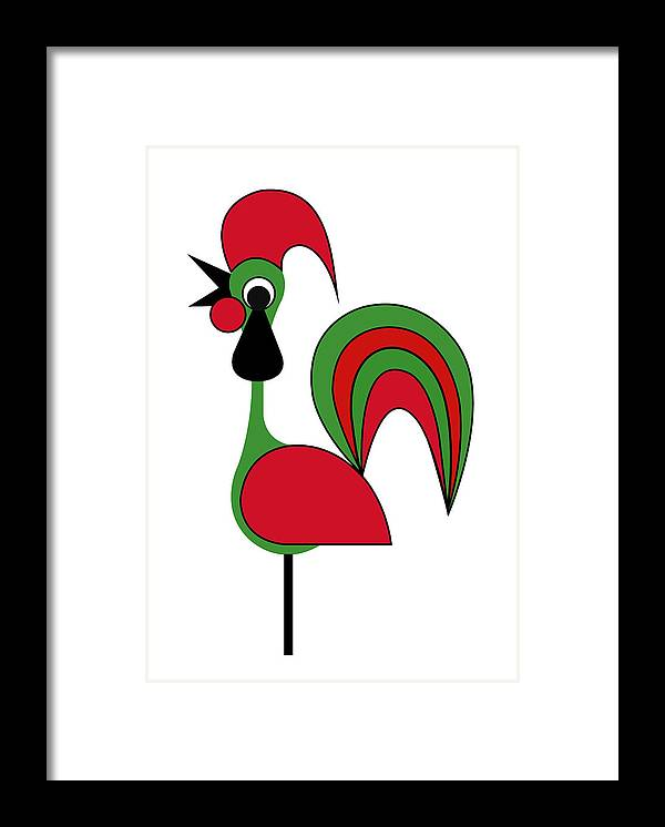 Rooster From Porto Framed Print featuring the digital art Rooster from Porto by Asbjorn Lonvig