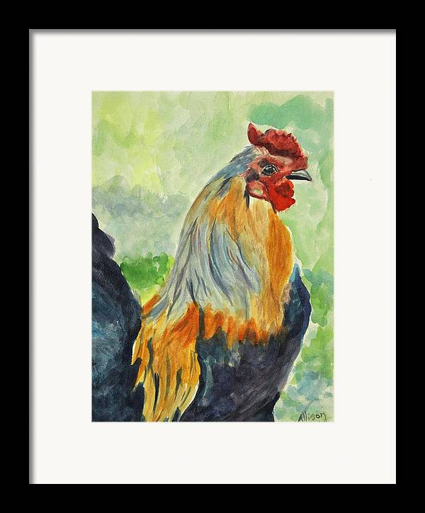 Animals Framed Print featuring the painting Rooster by Stephanie Allison