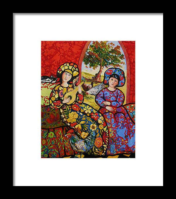 Framed Print featuring the painting Roosters in the Midst by Marilene Sawaf